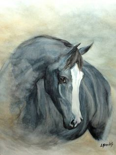 Beautiful Dark horse with a white blaze painting, Grace, by Lyn Banks. Please also visit www.JustForYouPropheticArt.com for more colorful art you might like to pin. Thanks for looking!