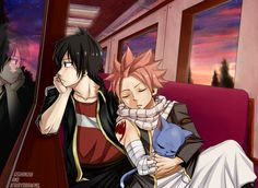 "xfairydrawing: """" On the way home "" Fantastic collaboration with the amazing @geghanush!! ( Go check her blog! ) - She did the thumbnail, the ( awesome ) Zeref and the Background lineart. - I did Natsu, Happy and the background colouring "" OMG!!! It..."