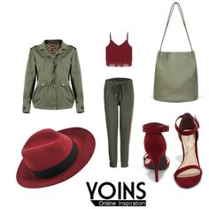 olive + cranberry by yviestyle on Polyvore featuring polyvore fashion style Anne Michelle Maison Michel