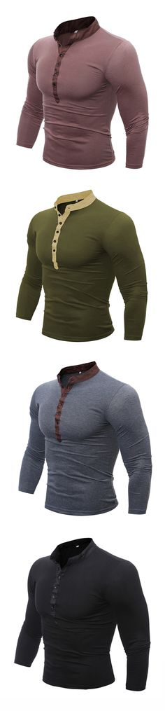 Mens Cotton Stand Collar T-shirt / Breathable Long Sleeve Buttons Tops