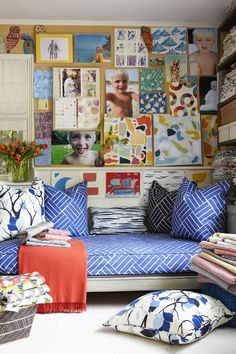Lulu deKwiatkowski (of LULU DK) surrounded by Eden's plantation fabric in royal blue Would love to do a free hand version of this. Up House, Living Spaces, Living Room, California Style, Photographing Kids, Cool Rooms, Kids Bedroom, Decoration, Design Inspiration