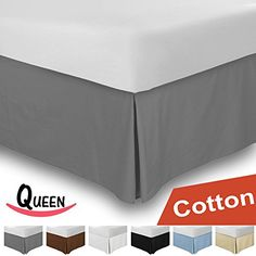 Combed Cotton Queen Bed-Skirt Grey - 100% Finest Quality Long Staple Fiber - Durable, Comfortable and Abrasion Resistant, Quadruple Pleated, Cotton Blended Platform - By Utopia Bedding -- Check out the image by visiting the link.