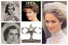 The Mountbatten Star Tiara | A Tiara a Day-A diamond and pearl tiara given to Princess Victoria of Battenberg by her aunt Princess Louise, Duchess of Argyll, as a replacement for a tiara lost in Russia.  It passed to Victoria's son Lord Louis Mountbatten.  Photos (clockwise from top left): Edwina Mountbatten, Countess Mountbatten of Burma; Penelope Knatchbull, Lady Brabourne; Penelope Knatchbull, Lady Brabourne; tiara detail; Patricia Knatchbull, 2nd Countess Mountbatten of Burma.