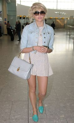 Pixie Lott Paired A Dainty Dress With Colour-Pop Brogues And Cropped Jacket, 2012