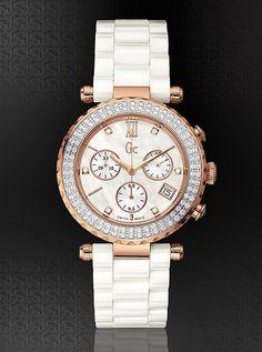 Gc Diver Chic Diamond Bezel White Ceramic Timepiece | GUESS.com