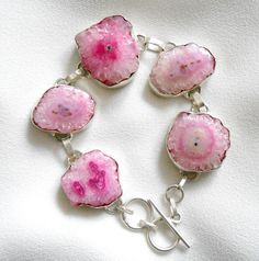 Pink agate bracelet by Excessjewellery on Etsy