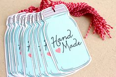 mason jar tags handmade - set of 12. via Etsy.