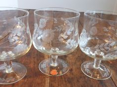 Arcadia Etched Crystal Wine Goblets Bulgaria from historique on Ruby Lane