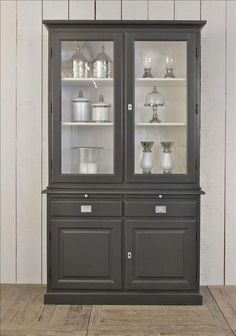 Painted Furniture For Sale, Solid Wood Furniture, Refurbished Furniture, Paint Furniture, Furniture Makeover, Built In Bookcase, Built In Hutch, Painted China Cabinets, Cottage Renovation