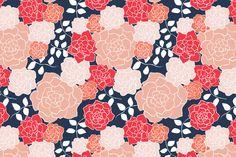 Pillows for living room. Floribunda, Coral   Navy fabric by kateriley on Spoonflower - custom fabric