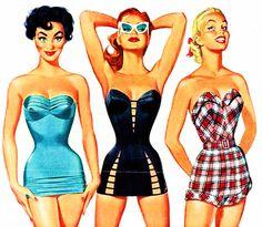 pin up vintage Pin Up Vintage, Moda Vintage, Vintage Soul, Unique Vintage, Retro Swimwear, Vintage Swimsuits, 1950s Style, 1950s Fashion, Vintage Fashion