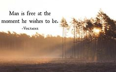 Voltaire quote: Man is free…