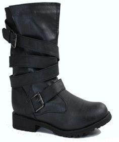 Glaze Women's 2 Buckle Strappy Motorcycle Boots – Go Shop Shoes Women's Motorcycle Boots, Fall Is Here, Women's Boots, Shoe Shop, Glaze, Footwear, Future, Sandals, Stuff To Buy
