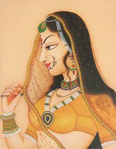 Rajput Princess (Reprint on Paper - Unframed) Rajasthani Miniature Paintings, Rajasthani Painting, Rajasthani Art, Mughal Paintings, Indian Art Paintings, Madhubani Art, Madhubani Painting, Indian Traditional Paintings, Princess Painting