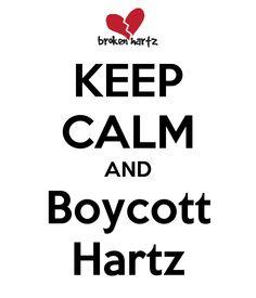 Keep Calm and Boycott Hartz, Courtesy of @KatieKaophonicc on Twitter