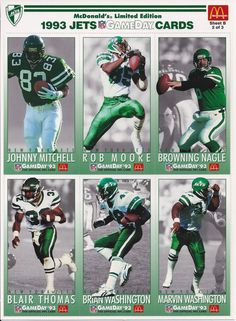 New York Jets 1993 Fleer Game Day (Talll Widevision) McDonalds Promo Team  Set Sheet B a65c09f17