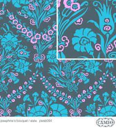 "Amy Butler PWAB094 Cameo Josephine's Bouquet Slate Sewing Quilting BTHY Rowan Westminster Half Yard 18"" Quilt Fabric Floral 100% Cotton OOP"