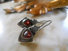 Opal and Garnet gemstones Sterling Silver by BohemianGirlVintage, $36.00