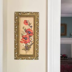 $45 for sale 2017 DESCRIPTION Beautiful vintage floral relief, framed wall art by Robert Laessig. 3D, multi colored cut paper floral motif depicting bright red poppies and daisies. The fabulous intricate gold frame that is included is almost as beautiful as the art itself! Frame has been painted with pops of white highlights, has glass front plate, as well as removable cardboard back piece and hanging hardware. SIZE 17.75 high 9 wide 1.5 thick (frame)  CONDITION Excellent - very good vintage…