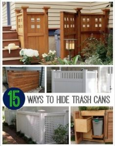 15 Best Looking Ways To Hide Trash Cans | There are many easy and inexpensive ways to hide trash cans on your property that you can easily build yourself.