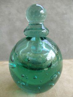 Vintage Metropolitan Museum of Art Green Glass Perfume Bottle with Dabber