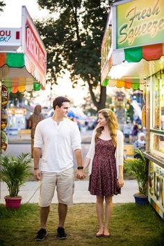 For this couple's Minneapolis engagement session, they chose to go to the local fair where they could dine on their favorite carnival treats.