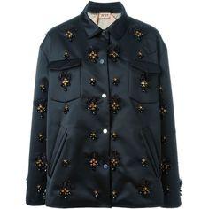 Nº21 Embellished Jacket ($2,577) ❤ liked on Polyvore featuring outerwear, jackets, black, embellished jacket, n°21 and black jacket