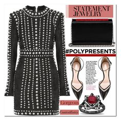 """#PolyPresents: Statement Jewelry"" by enwa ❤ liked on Polyvore featuring Balmain, Christian Louboutin, Nicholas Kirkwood, contestentry and polyPresents"