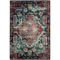 Safavieh Monaco Borg Blue/Fuchsia Rectangular Indoor Machine-Made Distressed Area Rug 5 x 8 Blue/Red Monaco, Shops, Classic Rugs, Polypropylene Rugs, Transitional House, Round Area Rugs, Area Rug Sizes, Power Loom, Online Home Decor Stores
