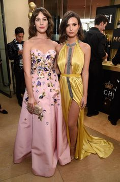 Inside the Golden Globes: Lola Kirke in Andrew Gn and Emily Ratajkowski in Reem Acra and H.Stern