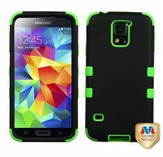 SAMSUNG Galaxy S5> Galaxy S5 Gummierter schwarz Electric grün TUFF Hybrid telefonisch Schutzabdeckung
