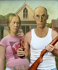 American Gothic Painting, Grant Wood American Gothic, American Gothic Parody, Mona Lisa Parody, Trash Art, Famous Artwork, Lowbrow Art, Art Institute Of Chicago, Gothic Art