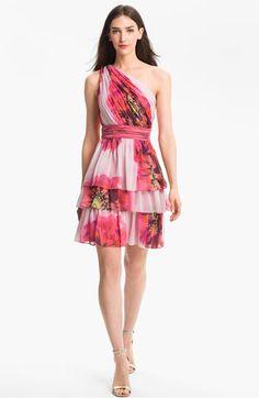 Kentucky Oaks dress? Need Pink! Max & Cleo One Shoulder Tiered Chiffon Dress | Nordstrom