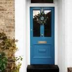 Restored Victorian front door with brass hardware and festive wreath. Paint colour - Marine Blue by Little Greene Restored Victorian front door with brass hardware and festive wreath. Paint colour - Marine Blue by Little Greene Exterior Door Colors, Front Door Paint Colors, Painted Front Doors, Front Door Design, Exterior Doors, Entry Doors, Blue Front Doors, Victorian Front Doors, Victorian Terrace
