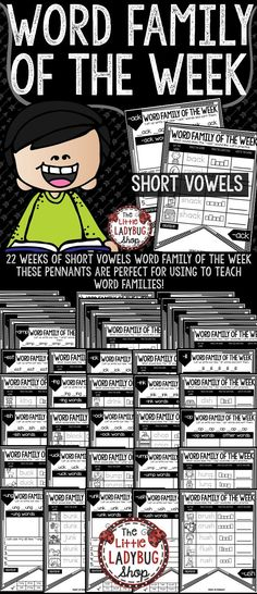 You will love using the Word Family of the Week Pennants to study SHORT VOWELS! There are 22 weeks of Word Families to study! You can choose the order you want to study. Your students will LOVE seeing these displayed after working on them! They are perfect for small group, literacy centers, or individual practice skills! Just TEACH -GO with these Word Families Pennants!