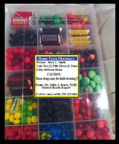 """Clever """"Get well gift"""" pill box filled with candy."""
