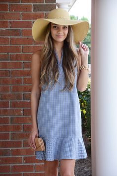 The cutest little gingham dress around! This dress has an adorable green, blue and white gingham print and ruffled hem. Back zip for closure Blue Gingham, Gingham Dress, Blue Door Boutique, Boutique Clothing, Cute Dresses, Dress Up, Blue And White, Classy, Hats