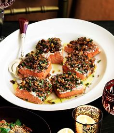 Melting salmon in fragrant salt, tarator style :: Gourmet Traveller Magazine Mobile Fish Recipes, Seafood Recipes, Gourmet Recipes, Cooking Recipes, Healthy Recipes, Healthy Food, Party Recipes, Keto Recipes, Recipies
