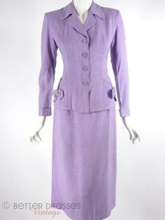 Lavender skirt suit, 1940's - 1950's.