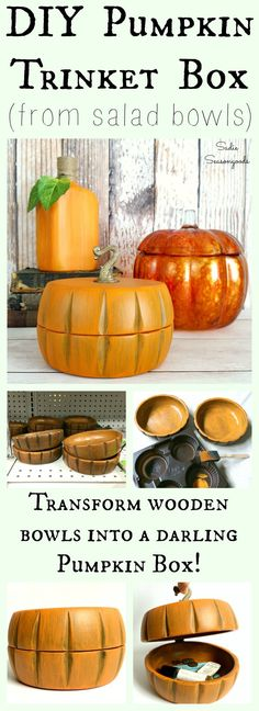 Who knew that a pair of vintage wooden salad bowls from the thrift store could be upcycled and repurposed into seriously the most ADORABLE DIY hinged pumpkin box?? Perfect for autumn and Fall decorating, and you can tuck your treasures away when you need to. It's easier than you think to finish this seasonal craft project...and the hunt for salad bowls is officially ON! Great repurpose DIY from Sadie Seasongoods / www.sadieseasongoods.com