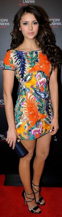 Nina Dobrev: Dress – Naeem Khan  Shoes – Brian Atwood  Purse – Amanda Pearl