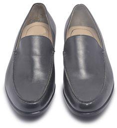 9fd109e0296 Mens Black Slip On Loafer Leather Shoes