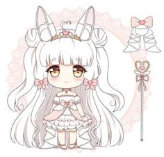 chibi commission for melonbunni! ah this character is so cute i had fun drawing her ~ ♥ thank you for the commission! done in sai / ps please do not use / . Lolis Anime, Cute Anime Chibi, Kawaii Chibi, Kawaii Art, Anime Kawaii, Hyanna Natsu, Character Art, Character Design, Dibujos Anime Chibi