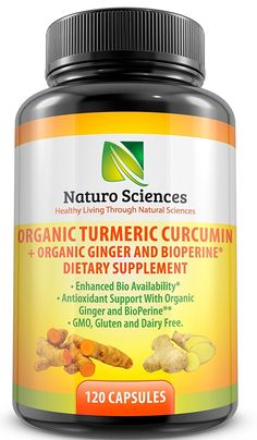 Organic Turmeric Extract Curcumin with BioPerine and Ginger Powder By Naturo Sciences (120 Capsules) - Natural, Dietary Supplement with Enhanced Bioavailability