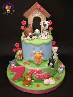 Cat and Dog Cake by Sheila Laura Gallo Fondant Dog, Fondant Cakes, Cupcake Cakes, Puppy Birthday Cakes, First Birthday Cakes, Cat Birthday, Dog Cake Topper, Cake Toppers, Fancy Cakes
