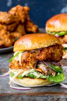 Crispy Chicken Burger with Honey Mustard Coleslaw on a toasted brioche bun, with. Crispy Chicken Burger with Honey Mustard Coleslaw on a toasted brioche bun, with jalapenos and crunchy lettuce. Waaay better than takeout! Crispy Chicken Burgers, Fried Chicken Sandwich, Chicken Sandwich Recipes, Shrimp Burger, Chicken Shack Coleslaw Recipe, Salmon Burgers, Buttermilk Chicken Burger, Street Food, Food Porn