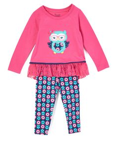 Look what I found on #zulily! Pink & Blue Owl Tunic & Leggings - Infant, Toddler & Girls #zulilyfinds