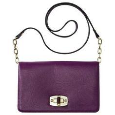Flap Closure Crossbody Handbag - Purple