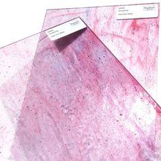 L Package Bubblegum Pink on Clear Streaky Mosaic Glass Tile Kokomo