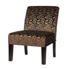 The plush velvet fabric of this beautiful accent chair changes in color from purple to brown - depending on the angle the light hits it. Ornamented with striking gold damask embroidery this chair will add a sparkle to the decor of any room.